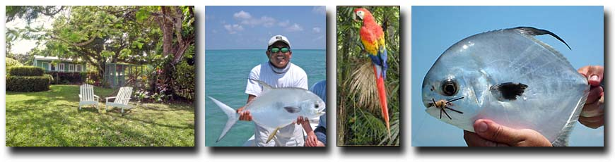 L-R: Belize River Lodge; Nice Permit; Parrot at Belize River Lodge; Successful Flats Fishing for Permit.
