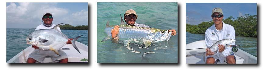 L-R: Beilze River Lodge Permit; Belize River Lodge Tarpon; Belize River Lodge Bonefish