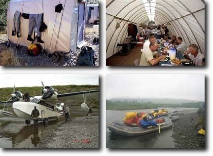 Dave Duncan and Sons Tent Accommodations, Dining and Kitchen Tent, Float Plane, Rafts ready to move (clockwise from top left)