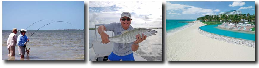 L-R: Grand Bahama Bonefishing anglers double up; Nice Grand Bahama Bonefish; Grand Bahama Bonefish accommodations at the Our Lucaya