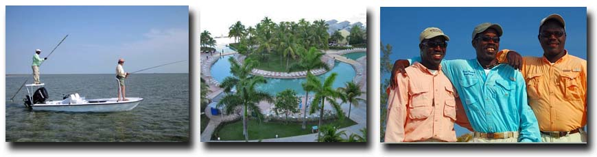 L-R: Grand Bahama bonefish flats; Our Lucaya pool; Grand Bahama Pinder Brothers