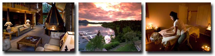L to R: Mission Lodge Living Room; Sunset over Lake Aleknagik at Mission Lodge; Mission does Massages too.