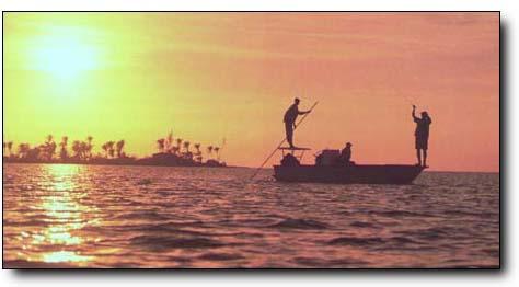 Bahamas bonefishing at its best - evening casts at Rickmon Bonefish Lodge.