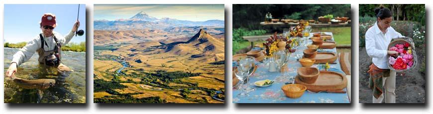 L-R: Chimehuin Brown, View of Estancia Tipiliuke; Lunch Setting; Tipiliuke Rose Garden.