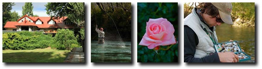 L to R: Tipiliuke Lodge; Angler hooked up on the Chimehuin; Tipiliuke Rose (Courtesy of Rick Bannerot); Fly Fishing Andes Guide (Courtesy of Rick Bannerot).