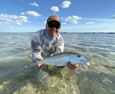 Christ Allen of Air Flight Charters with a nice Grand Bahama Bonefish, with H2O Bonefishing
